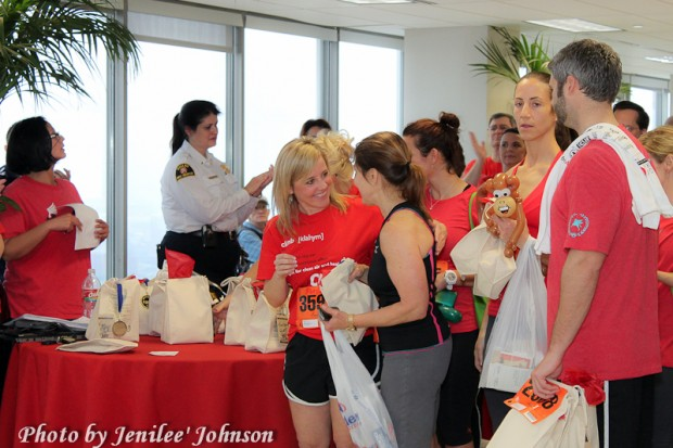 Deborah Bell Assisting People at the 2012 Dallas ALA Stair Climb